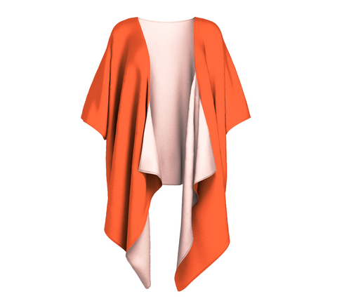 In the Sunshine Orange Solid Colour Draped Kimono  Draped kimono made in your choice of chiffon or silky knit. Add fringe for an extra touch of glamour. Easy to throw on or dress up in. VanIsleGoddess.Com