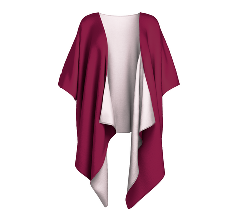Illuminated Rose Wine Solid Colour Draped Kimono  Draped kimono made in your choice of chiffon or silky knit. Add fringe for an extra touch of glamour. Easy to throw on or dress up in. VanIsleGoddess.com