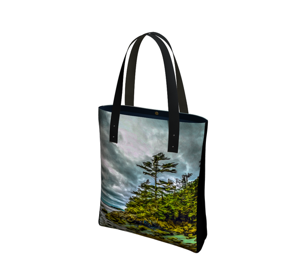 Inspiring West Coast Basic and Urban Tote Bags featuring printed artwork by Roxy Hurtubise.