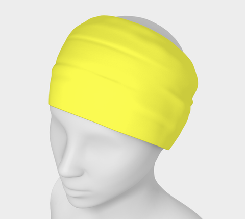 In The Sunshine Yellow Solid Colour Headband  Art meets the most versatile of fashion accessories. The headband.    You can wear it in so many different ways: a pony tail holder, hood, face mask, hat liner, wrist band, sun protector.   So easy to wear. Perfect for working out, staying warm, hiking, or as a pop of colour to add to any look.  Compact enough to fit in your pocket, purse, or back pack.  Makes a great gift idea too! By VanIsleGoddess.Com