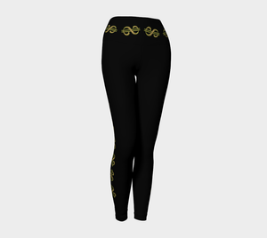 Vegas Dollars Las Vegas Yoga Leggings Show me the money!! Simple design in black with gold dollar signs for good luck! Roll the dice, place your chips, it's showtime and your the star!  Great travel wear. By Van Isle Goddess