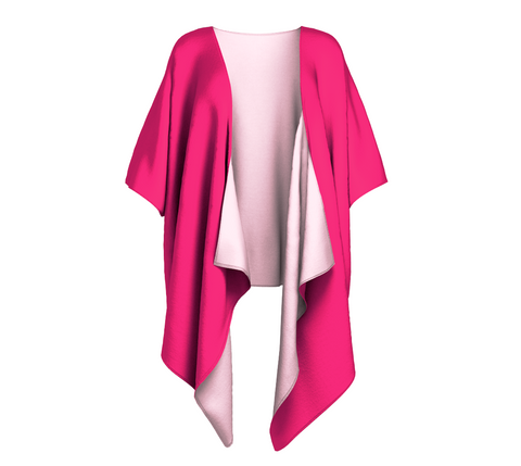 Rose Petal Kiss Kiss Solid Colour Draped Kimono  Draped kimono made in your choice of chiffon or silky knit. Add fringe for an extra touch of glamour. Easy to throw on or dress up in.  The perfect gift!  VanIsleGoddess.com