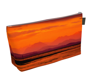Saratoga Sunset Makeup Bag by Vanislegoddess.com available in 2 sizes.