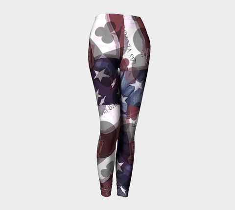 Viva Las Vegas Leggings All American Viva Las Vegas!  Stars & Stripes plus the 4 suits makes for a beautiful design. Party all night long in my Viva Las Vegas design.  Roll the dice, place your chips, it's showtime and your the star!  Great travel wear.  By Van Isle Goddess