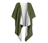 Enchanted Sea Anemone Green Solid Colour Draped Kimono  Draped kimono made in your choice of chiffon or silky knit. Add fringe for an extra touch of glamour. Easy to throw on or dress up in. VanIsleGoddess.com