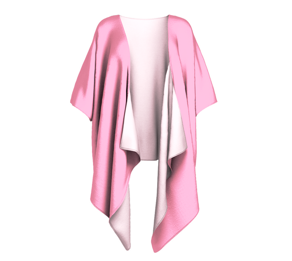 Island Goddess Pink Solid Colour Draped Kimono  Draped kimono made in your choice of chiffon or silky knit. Add fringe for an extra touch of glamour. Easy to throw on or dress up in. VanIsleGoddess.com