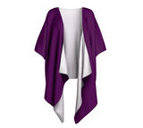 Heart Centered Purple Solid Colour Draped Kimono  Draped kimono made in your choice of chiffon or silky knit. Add fringe for an extra touch of glamour. Easy to throw on or dress up in. VanIsleGoddess.com