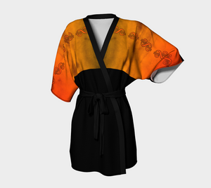 Nevada Dusk till Dawn Kimono Robe  Party all night long in my Nevada Dusk till Dawn design!  Beautiful sun and desert colours!  Great travel wear!  Artwork paired with luxury in this line of kimonos. Dramatic, elegant look. Perfect for special occasions, gallery shows and festivals! VanIsleGoddess.Com