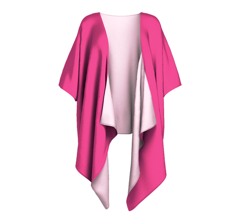 Enchanted Sea Anemone Pink Solid Colour Draped Kimono  Draped kimono made in your choice of chiffon or silky knit. Add fringe for an extra touch of glamour. Easy to throw on or dress up in. VanIsleGoddess.Com