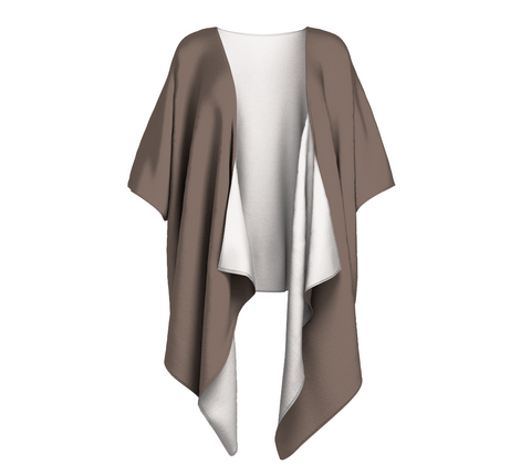 Island Summer Taupe Solid Colour Draped Kimono  Draped kimono made in your choice of chiffon or silky knit. Add fringe for an extra touch of glamour. Easy to throw on or dress up in. VanIsleGoddess.Com