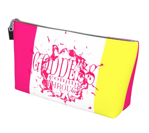 Goddess Coming Through Makeup Bag by Van Isle Goddess Vancouver Island available in 2 sizes.