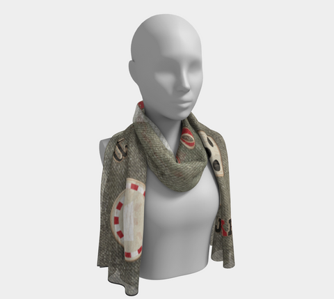 The Strip Las Vegas Long Scarf Wear as a scarf, shawl or as a head wrap.  Use for home decor as a wall hanging, also makes fabulous Wedding Party Gifts!    Artwork printed on 100% polyester lightweight fabric.    Choose from three different fabrics polychiffon, satin charmeuse and matte crepe.    Machined baby rolled edge hem finish.  Choose from 2 sizes.  By Van Isle Goddess.