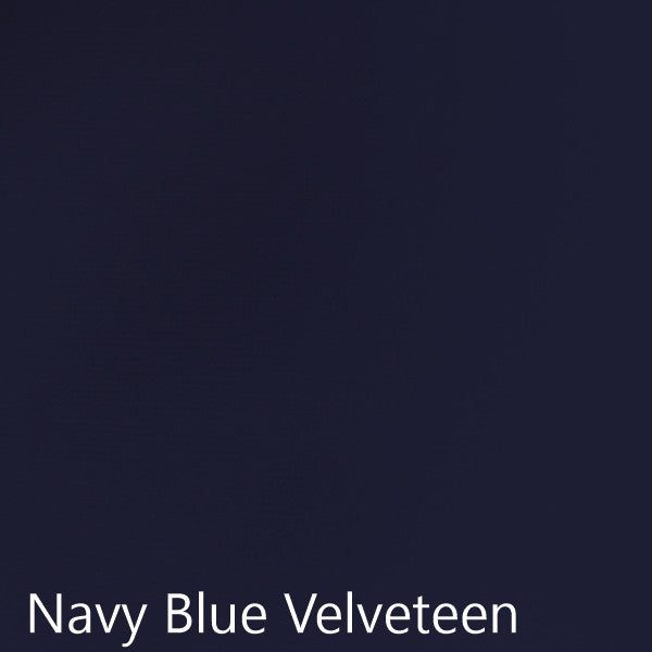 Navy blue velveteen fabric selection