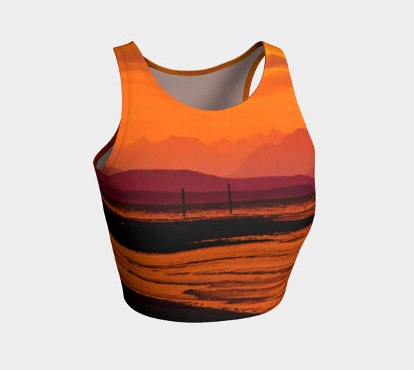 Saratoga Sunset Athletic Crop Top  Saratoga Sunset artwork by Roxy Hurtubise   Made to move with you!  Wear for your daily workouts, yoga, beach volleyball or as a bathing suit top!  Your Van Isle Goddess athletic crop top pairs up with our yoga or classic leggings and capris. Crop tops also look great with shorts, mini shorts, skirts fitted or flared.