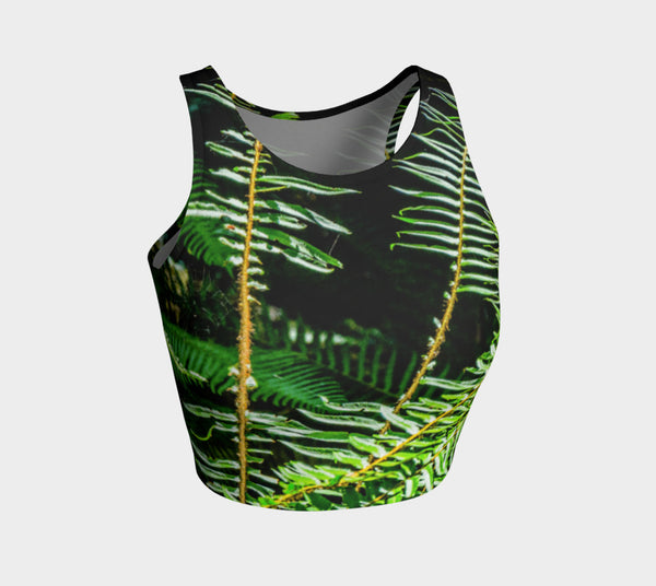 Rainforest Athletic Crop Top  Rainforest artwork by Roxy Hurtubise   Made to move with you!  Wear for your daily workouts, yoga, beach volleyball or as a bathing suit top!  Your Van Isle Goddess athletic crop top pairs up with our yoga or classic leggings and capris. Crop tops also look great with shorts, mini shorts, skirts fitted or flared.