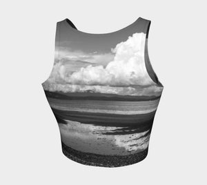 Parksville Beach II Athletic Crop Top  Parksville Beach II artwork by Roxy Hurtubise   Made to move with you!  Wear for your daily workouts, yoga, beach volleyball or as a bathing suit top!  Your Van Isle Goddess athletic crop top pairs up with our yoga or classic leggings and capris. Crop tops also look great with shorts, mini shorts, skirts fitted or flared.