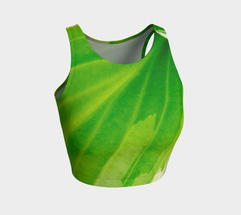 Hosta Green Athletic Crop Top  Hosta Green artwork by Roxy Hurtubise   Made to move with you!  Wear for your daily workouts, yoga, beach volleyball or as a bathing suit top!  Your Van Isle Goddess athletic crop top pairs up with our yoga or classic leggings and capris. Crop tops also look great with shorts, mini shorts, skirts fitted or flared.