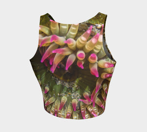 Enchanted Sea Anemone Athletic Crop Top  Enchanted Sea Anemone artwork by Roxy Hurtubise  Made to move with you!  Wear for your daily workouts, yoga, beach volleyball or as a bathing suit top!  Your Van Isle Goddess athletic crop top pairs up with our yoga or classic leggings and capris. Crop tops also look great with shorts, mini shorts, skirts fitted or flared.