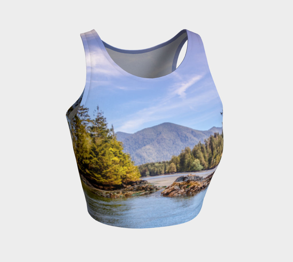 Tofino Inlet Athletic Crop Top  Tofino Inlet artwork by Roxy Hurtubise  Made to move with you!  Wear for your daily workouts, yoga, beach volleyball or as a bathing suit top!  Your Van Isle Goddess athletic crop top pairs up with our yoga or classic leggings and capris. Crop tops also look great with shorts, mini shorts, skirts fitted or flared.