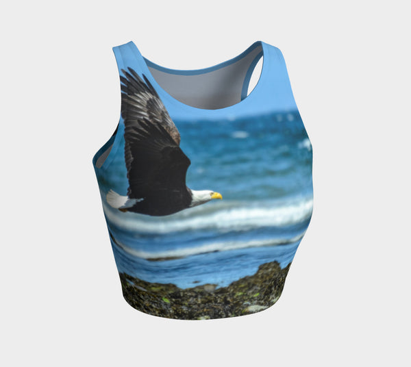 Fly Like An Eagle Athletic Crop Top  Fly Like An Eagle artwork by Roxy Hurtubise  Made to move with you!  Wear for your daily workouts, yoga, beach volleyball or as a bathing suit top!  Your Van Isle Goddess athletic crop top pairs up with our yoga or classic leggings and capris. Crop tops also look great with shorts, mini shorts, skirts fitted or flared.