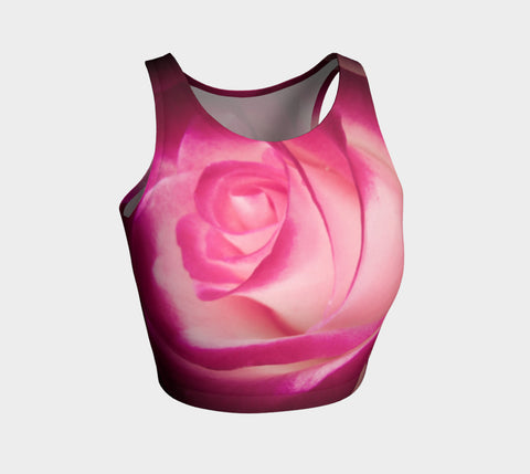 Illuminated Rose Athletic Crop Top  Illuminated Rose artwork by Roxy Hurtubise   Made to move with you!  Wear for your daily workouts, yoga, beach volleyball or as a bathing suit top!  Your Van Isle Goddess athletic crop top pairs up with our yoga or classic leggings and capris. Crop tops also look great with shorts, mini shorts, skirts fitted or flared.