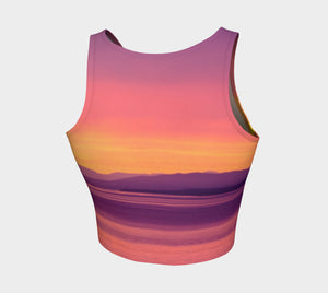 Vancouver Island Sunset Athletic Crop Top  Vancouver Island Sunset artwork by Roxy Hurtubise  Made to move with you!  Wear for your daily workouts, yoga, beach volleyball or as a bathing suit top!  Your Van Isle Goddess athletic crop top pairs up with our yoga or classic leggings and capris. Crop tops also look great with shorts, mini shorts, skirts fitted or flared.