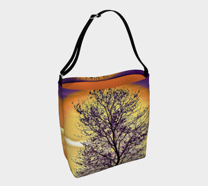 Island Tree of Life Day Tote  Everyday Day Tote for Everything!  Van Isle Goddess ultimate tote bag!   Adjustable strap for comfort, the tote is made from soft and supple neoprene that stretches to fit whatever you can put in it!    Vibrant artwork that will never fade with washing.  Island Tree of Life Artwork by  Roxy Hurtubise with solid orange color interior.