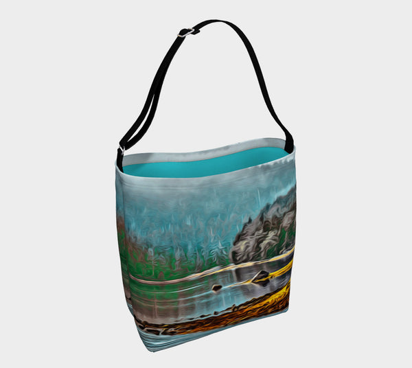 Aqua Ucluelet Inlet Day Tote  Everyday Day Tote for Everything!  Van Isle Goddess ultimate tote bag!   Adjustable strap for comfort, the tote is made from soft and supple neoprene that stretches to fit whatever you can put in it!    Vibrant artwork that will never fade with washing.  Aqua Ucluelet Inlet Artwork by  Roxy Hurtubise with turquoise interior.