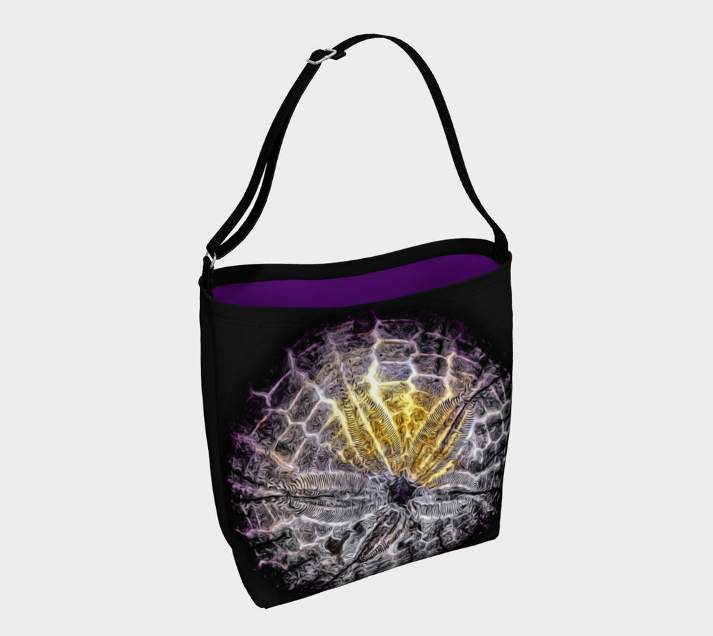 Spotlight Sand Dollar Day Tote  Everyday Day Tote for Everything!  Van Isle Goddess ultimate tote bag!   Adjustable strap for comfort, the tote is made from soft and supple neoprene that stretches to fit whatever you can put in it!    Vibrant artwork that will never fade with washing.  Spotlight Sand Dollar Artwork by  Roxy Hurtubise with purple interior.
