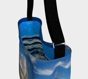 Everyday Day Tote for Everything!  Van Isle Goddess ultimate tote bag!   Adjustable strap for comfort, the tote is made from soft and supple neoprene that stretches to fit whatever you can put in it!    Vibrant artwork that will never fade with washing.  Qualicum Beach Artwork by  Roxy Hurtubise with ocean waves interior.
