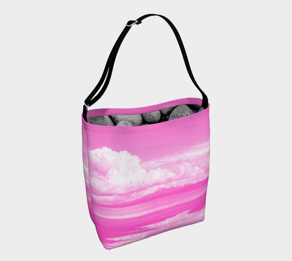 Parksville Beach in Pink Day Tote  Everyday Day Tote for Everything!  Van Isle Goddess ultimate tote bag!   Adjustable strap for comfort, the tote is made from soft and supple neoprene that stretches to fit whatever you can put in it!