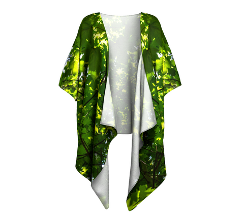 Canopy of Leaves Draped Kimono Front