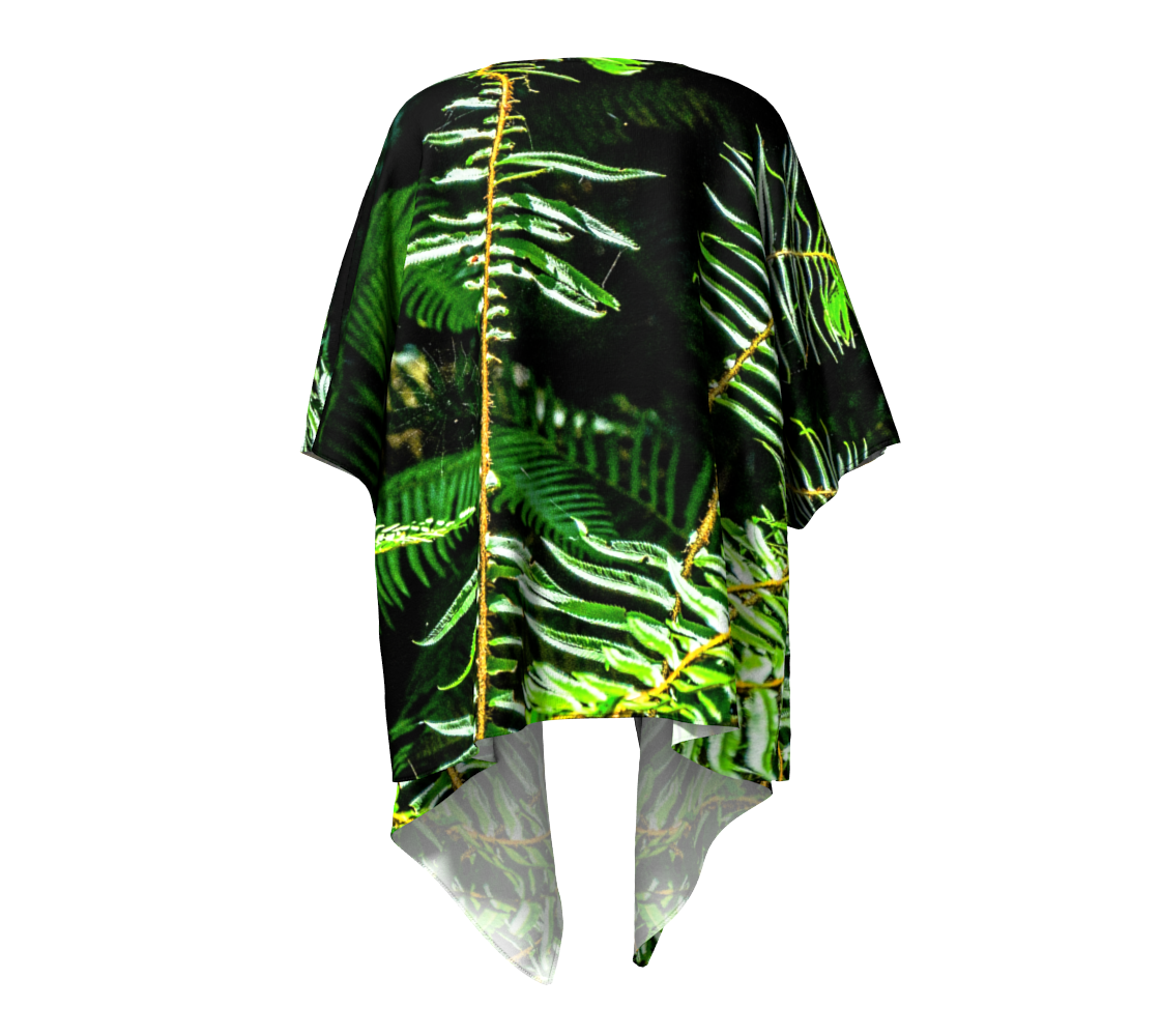 Rainforest Ferns Draped Kimono Back