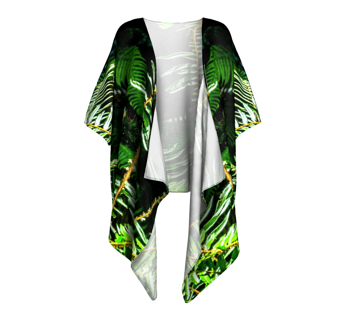 Rainforest Ferns Draped Kimono by Van Isle Goddess of Vancouver Island