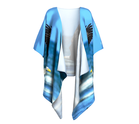 Fly Like An Eagle Draped Kimono Front