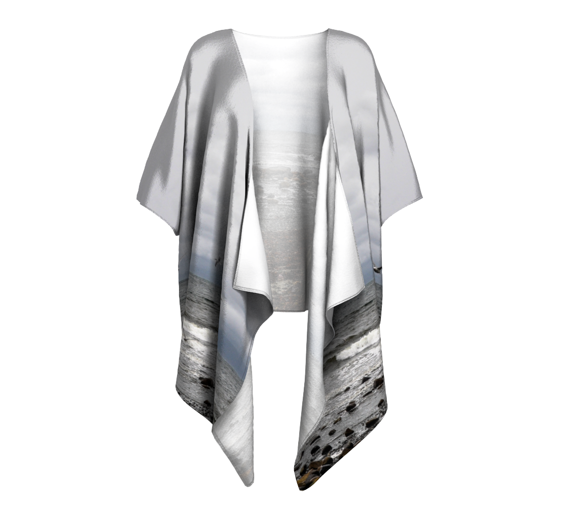 Gray Day Qualicum Beach Draped Kimono Front