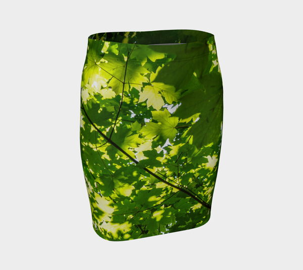 Canopy of Leaves Fitted Skirt by Roxy Hurtubise VanIsleGoddess.Com Front
