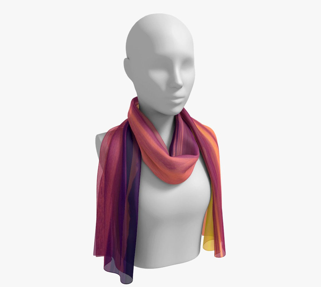 "Vancouver Island Sunset Long Scarf  Wear as a scarf, shawl or as a head wrap.  Use for home decor as a wall hanging, also makes fabulous Wedding Party Gifts!    Artwork printed on 100% polyester lightweight fabric.    Choose from three different fabrics polychiffon, satin charmeuse and matte crepe.    Machined baby rolled edge hem finish.  Choose from 2 sizes:    10"" x 45""    16"" x 72"" by Roxy Hurtubise vanislegoddess.com"