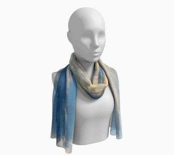 "Qualicum Beach Long Scarf  Wear as a scarf, shawl or as a head wrap.  Use for home decor as a wall hanging, also makes fabulous Wedding Party Gifts!    Artwork printed on 100% polyester lightweight fabric.    Choose from three different fabrics polychiffon, satin charmeuse and matte crepe.    Machined baby rolled edge hem finish.  Choose from 2 sizes:    10"" x 45""    16"" x 72"" by Roxy Hurtubise vanislegoddess.com"