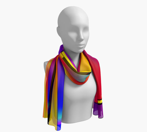 "Expression Long Scarf  Wear as a scarf, shawl or as a head wrap.  Use for home decor as a wall hanging, also makes fabulous Wedding Party Gifts!    Artwork printed on 100% polyester lightweight fabric.    Choose from three different fabrics polychiffon, satin charmeuse and matte crepe.    Machined baby rolled edge hem finish.  Choose from 2 sizes:    10"" x 45""    16"" x 72"" by vanislegoddess.com"