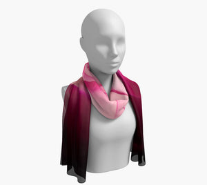 "Illuminated Rose Long Scarf  Wear as a scarf, shawl or as a head wrap.  Use for home decor as a wall hanging, also makes fabulous Wedding Party Gifts!    Artwork printed on 100% polyester lightweight fabric.    Choose from three different fabrics polychiffon, satin charmeuse and matte crepe.    Machined baby rolled edge hem finish.  Choose from 2 sizes:    10"" x 45""    16"" x 72"" by Roxy Hurtubise vanislegoddess.com"