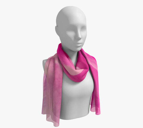 "Rose Petal Kiss Long Scarf  Wear as a scarf, shawl or as a head wrap.  Use for home decor as a wall hanging, also makes fabulous Wedding Party Gifts!    Artwork printed on 100% polyester lightweight fabric.    Choose from three different fabrics polychiffon, satin charmeuse and matte crepe.    Machined baby rolled edge hem finish.  Choose from 2 sizes:    10"" x 45""    16"" x 72"" by Roxy Hurtubise vanislegoddess.com"
