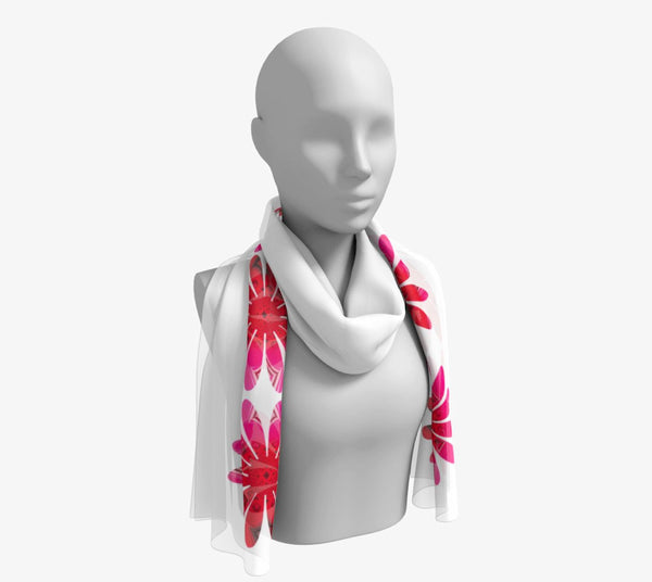 "Activated in White Long Scarf  Wear as a scarf, shawl or as a head wrap.  Use for home decor as a wall hanging, also makes fabulous Wedding Party Gifts!    Artwork printed on 100% polyester lightweight fabric.    Choose from three different fabrics polychiffon, satin charmeuse and matte crepe.    Machined baby rolled edge hem finish.  Choose from 2 sizes:    10"" x 45""    16"" x 72"" by vanislegoddess.com"