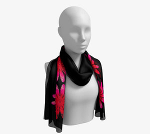 "Activated Long Scarf  Wear as a scarf, shawl or as a head wrap.  Use for home decor as a wall hanging, also makes fabulous Wedding Party Gifts!    Artwork printed on 100% polyester lightweight fabric.    Choose from three different fabrics polychiffon, satin charmeuse and matte crepe.    Machined baby rolled edge hem finish.  Choose from 2 sizes:    10"" x 45""    16"" x 72"" by vanislegoddess.com"