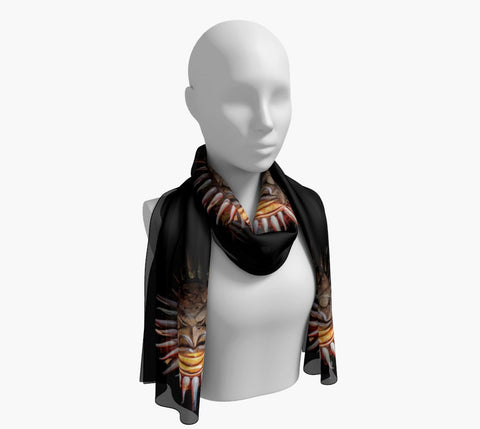 "Sun Mask Long Scarf  Wear as a scarf, shawl or as a head wrap.  Use for home decor as a wall hanging, also makes fabulous Wedding Party Gifts!    Artwork printed on 100% polyester lightweight fabric.    Choose from three different fabrics polychiffon, satin charmeuse and matte crepe.    Machined baby rolled edge hem finish.  Choose from 2 sizes:    10"" x 45""    16"" x 72"" by vanislegoddess.com"