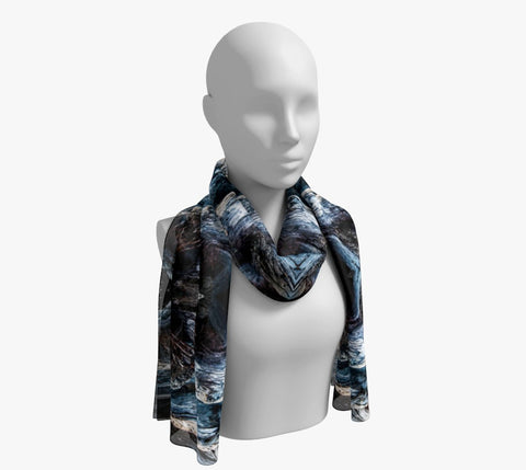 "Driftwood Long Scarf  Wear as a scarf, shawl or as a head wrap.  Use for home decor as a wall hanging, also makes fabulous Wedding Party Gifts!    Artwork printed on 100% polyester lightweight fabric.    Choose from three different fabrics polychiffon, satin charmeuse and matte crepe.    Machined baby rolled edge hem finish.  Choose from 2 sizes:    10"" x 45""    16"" x 72"" by vanislegoddess.com"
