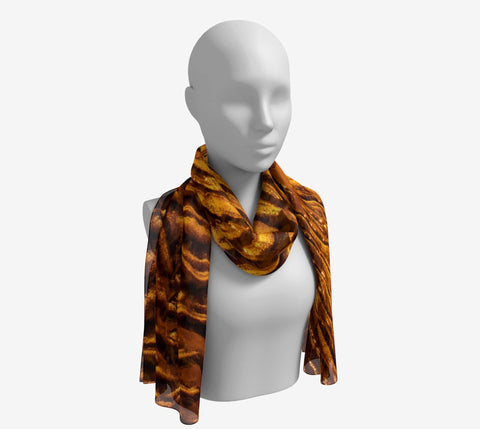 "Golden Sand Long Scarf  Wear as a scarf, shawl or as a head wrap.  Use for home decor as a wall hanging, also makes fabulous Wedding Party Gifts!    Artwork printed on 100% polyester lightweight fabric.    Choose from three different fabrics polychiffon, satin charmeuse and matte crepe.    Machined baby rolled edge hem finish.  Choose from 2 sizes:    10"" x 45""    16"" x 72"" by vanislegoddess.com"