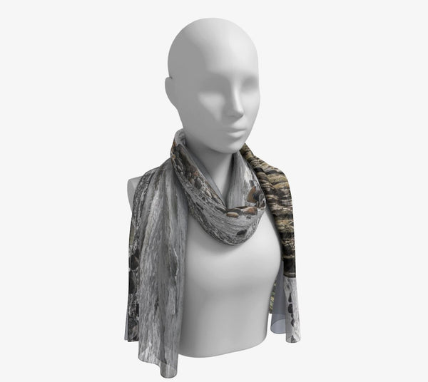"Gray Day Long Scarf  Wear as a scarf, shawl or as a head wrap.  Use for home decor as a wall hanging, also makes fabulous Wedding Party Gifts!    Artwork printed on 100% polyester lightweight fabric.    Choose from three different fabrics polychiffon, satin charmeuse and matte crepe.    Machined baby rolled edge hem finish.  Choose from 2 sizes:    10"" x 45""    16"" x 72"" by vanislegoddess.com"