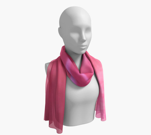 "Soft Rose Long Scarf  Wear as a scarf, shawl or as a head wrap.  Use for home decor as a wall hanging, also makes fabulous Wedding Party Gifts!    Artwork printed on 100% polyester lightweight fabric.    Choose from three different fabrics polychiffon, satin charmeuse and matte crepe.    Machined baby rolled edge hem finish.  Choose from 2 sizes:    10"" x 45""    16"" x 72"" by Roxy Hurtubise vanislegoddess.com"