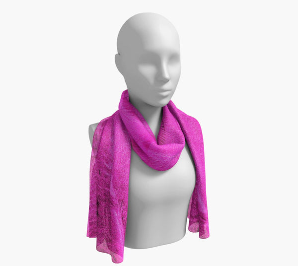 "Pink Sand Long Scarf  Wear as a scarf, shawl or as a head wrap.  Use for home decor as a wall hanging, also makes fabulous Wedding Party Gifts!    Artwork printed on 100% polyester lightweight fabric.    Choose from three different fabrics polychiffon, satin charmeuse and matte crepe.    Machined baby rolled edge hem finish.  Choose from 2 sizes:    10"" x 45""    16"" x 72"" by Roxy Hurtubise vanislegoddess.com"